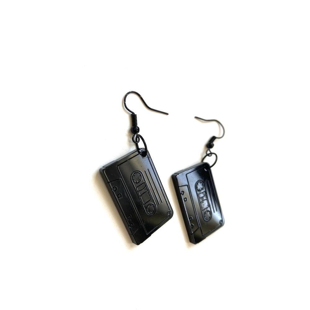 One of a Kind Club Black Cassette Earrings