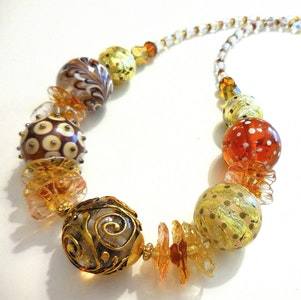 Beadoire Glass LAMPWORK GLASS BEAD NECKLACE - 'On Golden Pond' 2020