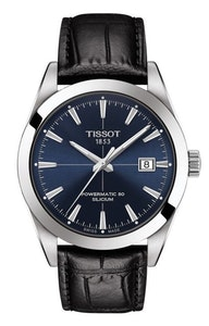 Tissot Gentleman Powermatic 80 Silicium - Blue with Black Leather Strap