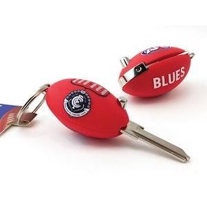 Creative Keys AFL Footy Flip Key Blank with Keyring LW4 – Carlton Blues