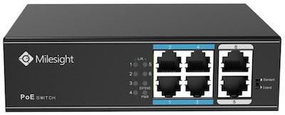 Milesight 4 port PoE switch, 65W max