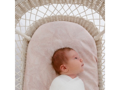 Anchor & Arrow Fitted Jersey Cotton Bassinet Sheet/Change Table Cover - Pink Palm