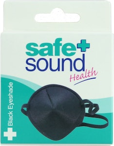 Safe + Sound Black Fabric Eyeshade Sleeping Eye Mask