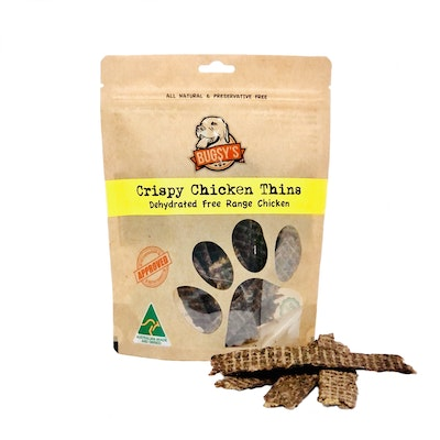 Bugsy's Pet Supplies HEALTHY SNACKS   Dehydrated Crispy Chicken Thins