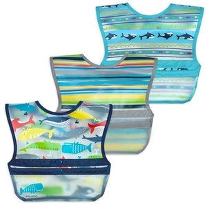 green sprouts Snap & Go™ Wipe-off Bib (3 pack) 9-18mo - Blue Whales