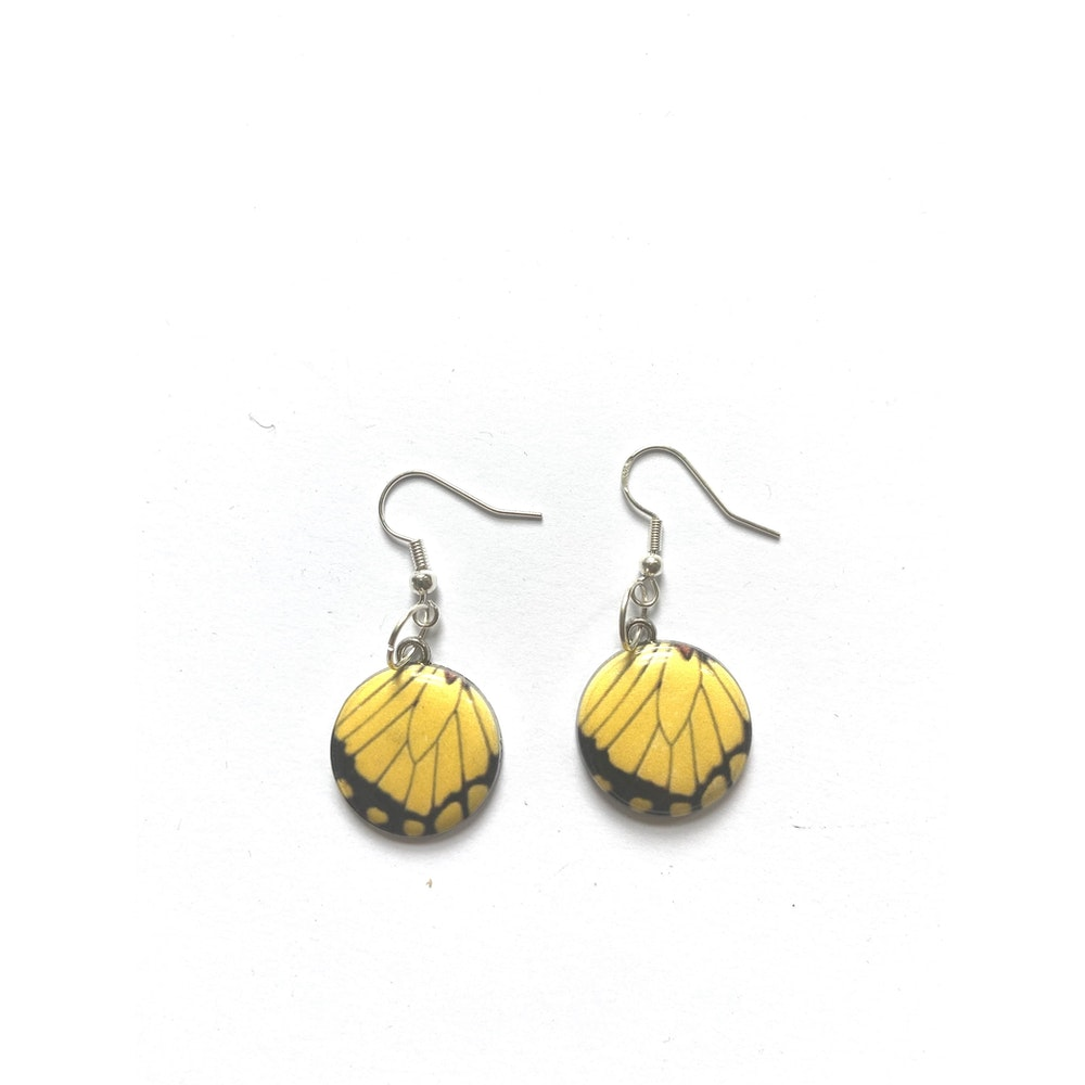 One of a Kind Club Yellow Circle Butterfly Earrings