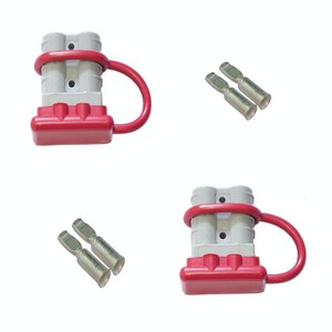 2 x 50 amp Anderson Plugs and Red Dust Covers