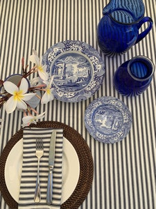 Navy Ticking Tablecloth 2.5m