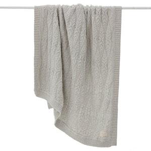Jujo Baby Cable Heirloom Blanket  - silver