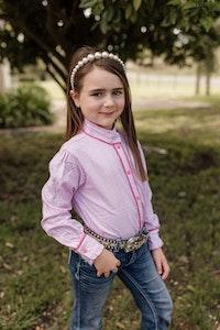 """Joye"" Powder Pink Pretty Gingham Ruffle Collar Light Shirt"
