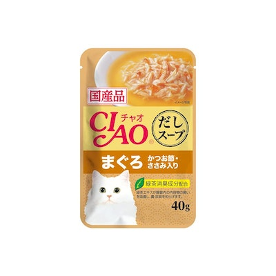 INABA CIAO Cat Chicken Fillet Maguro Topping Dried Bonito Soup Pouch 40g