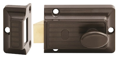 Lockwood 100 Series Nightlatch Brown Finish with Chrome Plated Cylinder