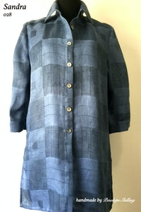 Sandra | Linen Shirt in Blues Check