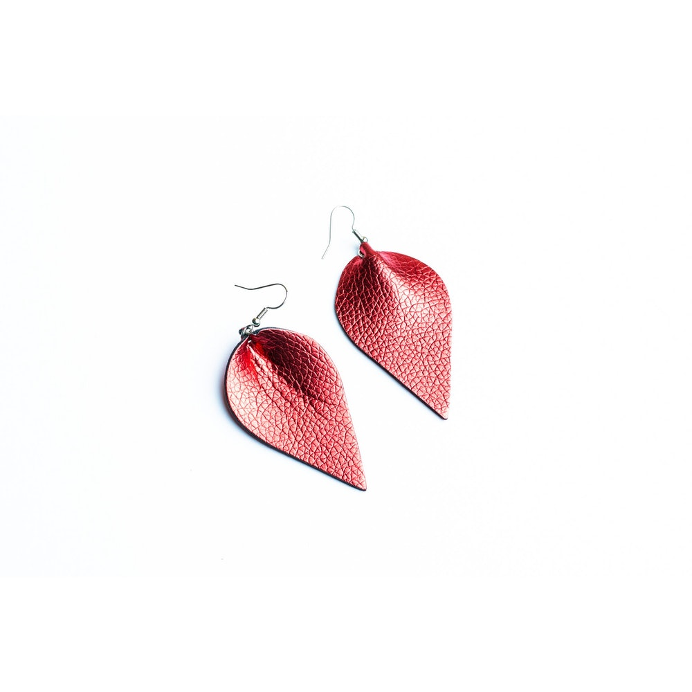 One of a Kind Club Red Petal Shaped Earrings