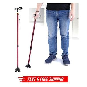Walking Stick Cane Folding With Light LED Strap Handle Metal Adjustable - 4 Legs