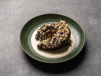 Sesame miso & preserved lemon roasted pumpkin, tahini tarator, puffed grains