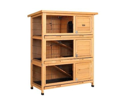 House of Pets Delight Large Waterproof Wooden Pet Rabbit Hutch with Metal Run