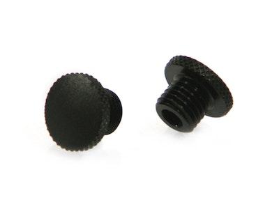 Pair Black Aluminium Threaded Mirror Block Off Plugs - 10mm RIght and Left Turn