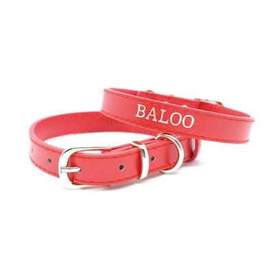 Petzy Red - Premium Personalised Pet Collar (Silver)