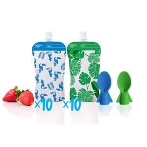 Reusable Food Pouch Mini's 20pk + Food Pouch Spoons 2pk Green Blue