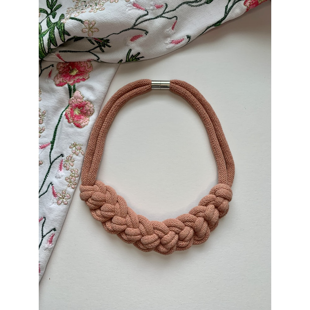 Form Norfolk Loop Knot Necklace In Blush Pink