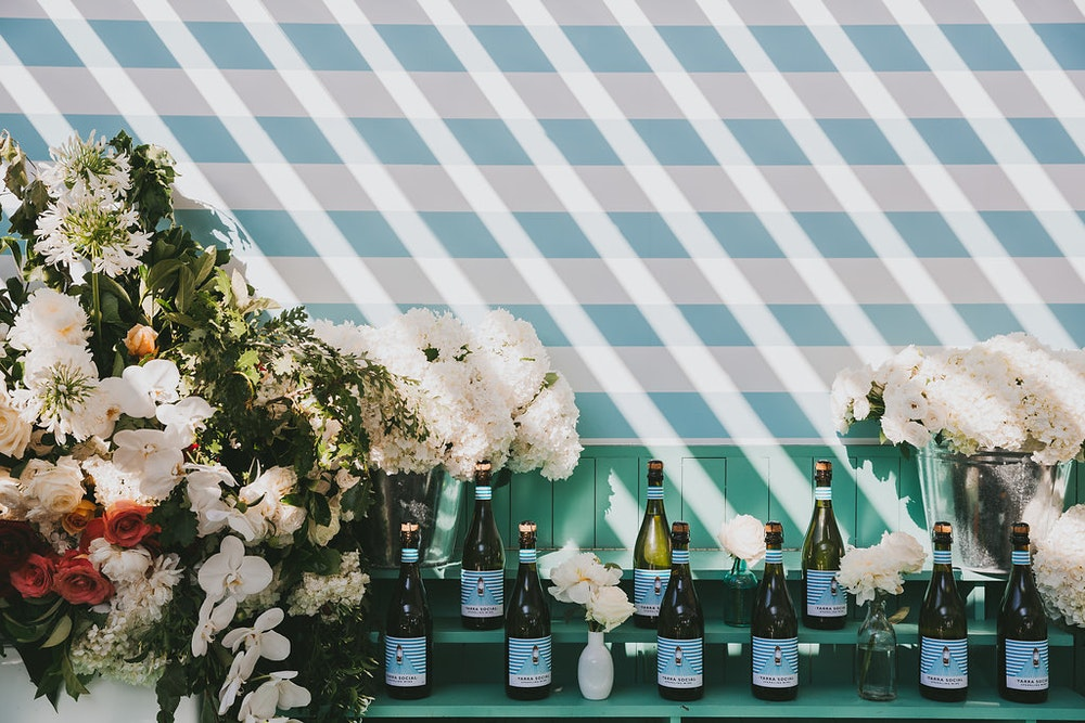 Sparkling Wine Blue White Striped Bottle