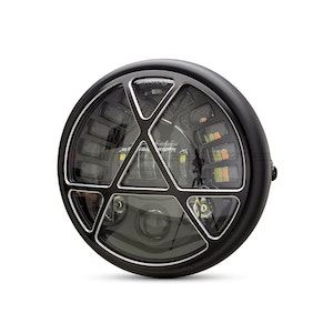 """7.5"""" Metal LED Headlight with Integrated Indicators and Anarchy Grill"""