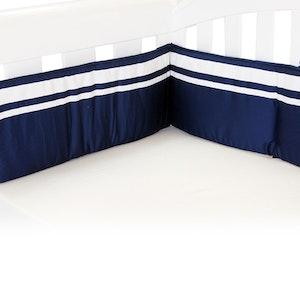 Babyhood Cot Bumper Breezy Blue Navy White