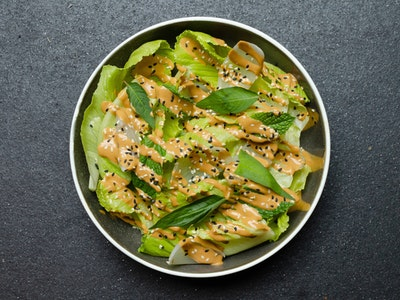 Baby Cos Leaf Salad, Vietnamese Mint, Sesame Sauce
