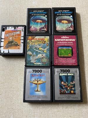 Four Atari 2600 games two Atari 7800 games