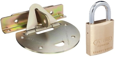 """Xtratec XTRA-LOK 2A roller door anchor semi circular plate for """"Stepped Concrete Surfaces"""", Abus 83/45 padlock included"""