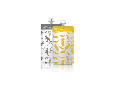 On the Go Reusable Food Pouch Mini's – Kangaroo Grey & Cockatoo Yellow 10pk