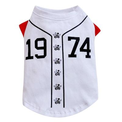 DoggyDolly SMALL DOG - Doggy Baseball T Shirt White