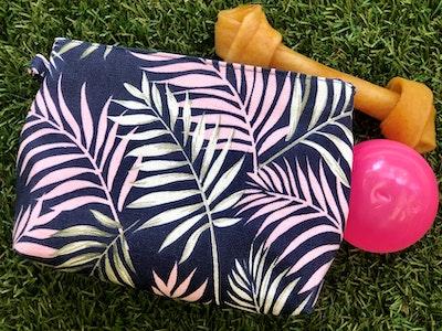 Cedarwood and Ash Dusty Pink Fern on Blue Dog Treat Holder/Belt Snap Bag. Perfect for Dog Training and walks