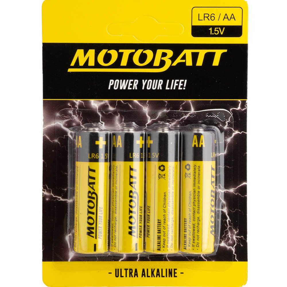 MOTOBATT AA 1.5 ALKALINE BATTERIES  4 PER CARD (10BOX) Renowned for their world-leading motorcycle and Powersports batteries, Motobatt is here to Power Your Life with their range of everyday batteries! Featuring AA, AAA and 9V batteries along with numerous button batteries and more. Motobatt's everyday batteries can power everything including remotes, toys, lights, controllers and more. The batteries are formulated to provide dependable power, bringing long life to your devices.   Voltage: 1.5V Size: AA Type: Alkaline Quantity: 4