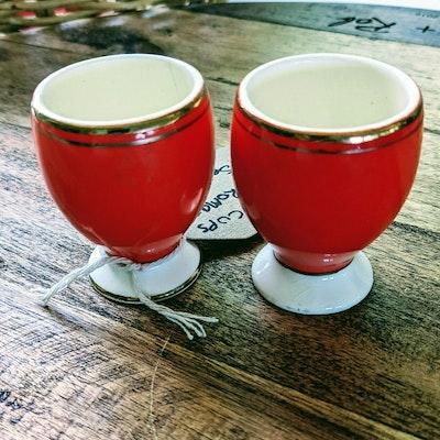 Scenic Rim Pottery Egg cups - orange ceramic - vintage