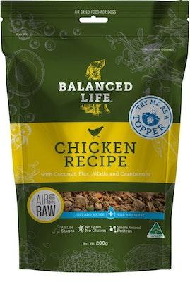 BALANCED LIFE Dog & Puppy Air Dried Raw Dog Food Topper Chicken 200g
