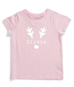 Personalised Reindeer Name Tee - Pink