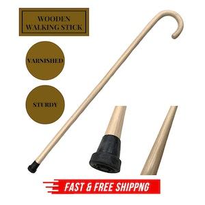 93cm WOODEN WALKING STICK Wood Cane Pole Carved Varnished Deluxe Sturdy - Beige
