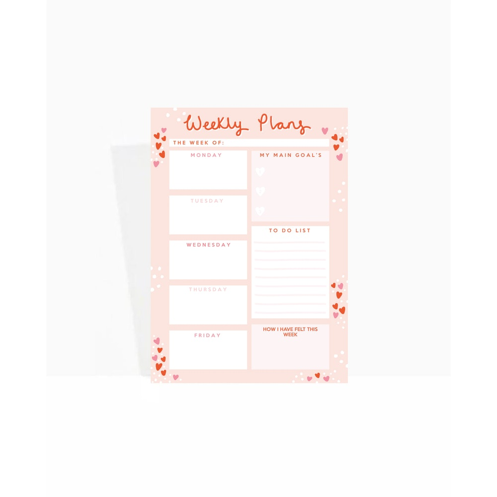 Brew Norfolk A5 Weekly Planner Pad With Love Heart Design