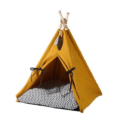 Zeze Teepee Pet Tent With Cushion Bed - Yellow