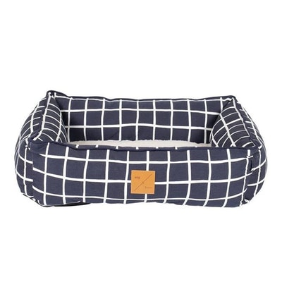 Mog & Bone Bolster Dog Bed Navy Check Print - 2 Sizes