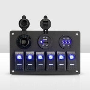 Vic Off Road 6 Gang LED 12V 24V ON OFF Toggle Rocker Switch Panel