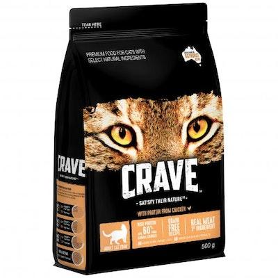 CRAVE Adult Chicken & Turkey Dry Cat Food 500G