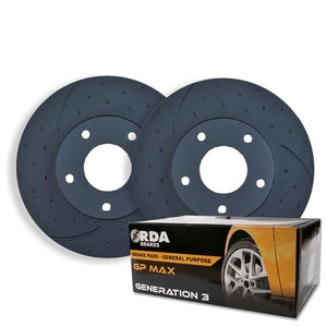 DIMPLED SLOTTED FRONT BRAKE ROTORS+BRAKE PADS for Holden Commodore VR VS RDA35D