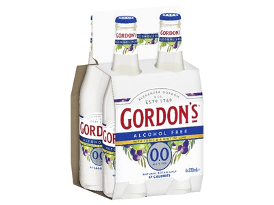 Gordons Alcohol Free Gin & Tonic with Lime Bottle 330mL 4 Pack