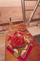 Crayfish on the menu, Houtman Abrolhos Is. courtesy Tourism WA