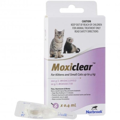 MOXICLEAR Flea & Worming Spot Treatment <4kg Kittens & Cats 6 Pack