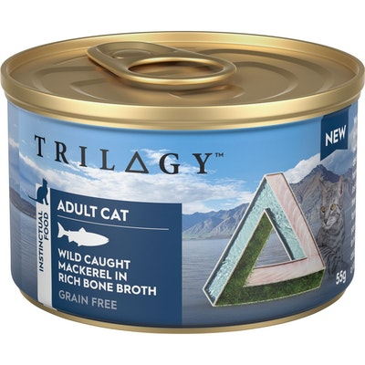 Trilogy Adult Wild Caught Mackarel In Bone Broth Wet Cat Food 55G