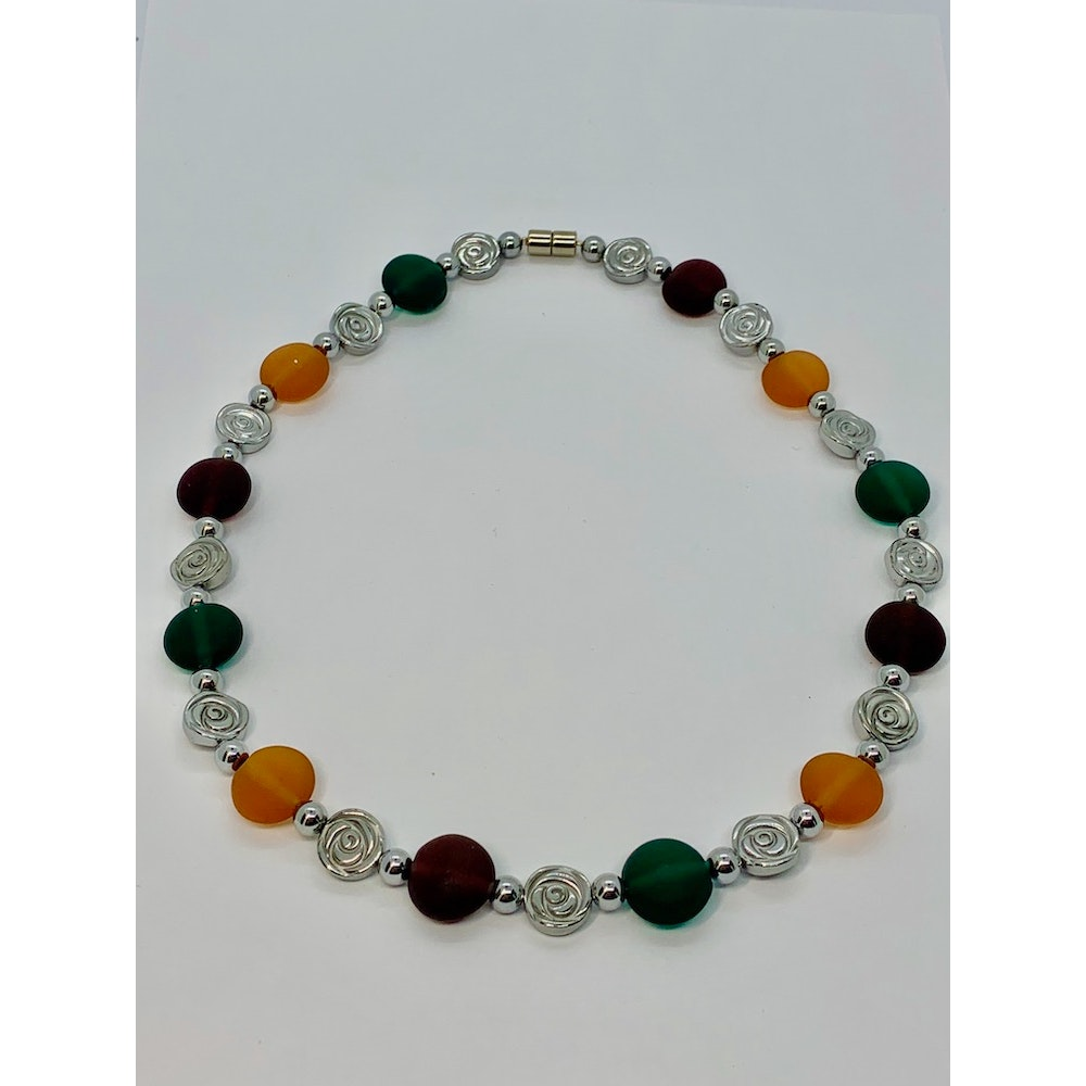 Fayre Maiden Frosted Multicoloured Lampwork Bead Necklace
